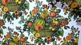 Mid Mod 1960's Original Design by HERO Floral Basket/Flowers Screen Prin... - $10.00