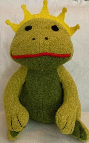 "Primary image for Pottery Barn Kids Plush Green Frog Prince Stuffed Amphibian PBK 12"" Mint! Crown"