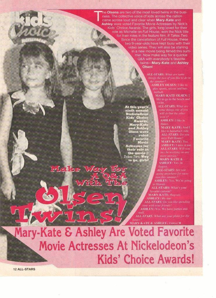 Mary Kate Olsen Ashely Olsen teen magazine pinup clipping movie actresses Bop