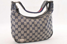 GUCCI Sherry Line GG Canvas Shoulder Bag Blue Auth 5289 - $126.00
