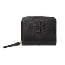 NWT TORY BURCH McGraw Bi-Fold Wallet Classic Logo Zip Card Case Con Blac... - $166.32