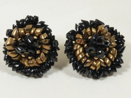 VTG signed Castlecliff  black & gold color glass beads cluster clip earr... - $19.80