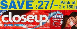 Closeup Ever Fresh Red Hot Gel Toothpaste - 150 g (Pack of 2) X 2 - $23.58