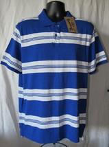 Roebuck & Co. Young Men's Polo Shirt Blue/White Striped Size: L (41/43)