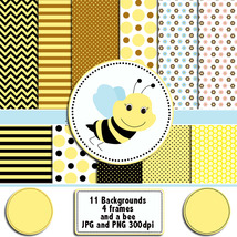 Bee clipart digital graphics frames and backgro... - $6.00