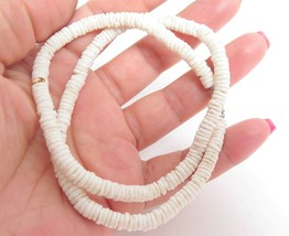 Vintage Beachy Marine Classic Puka Pucca Shell White Round Bead Necklace... - $17.82