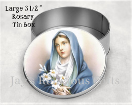 Virgin Mary with Lilies / Our Lady of Purity Rosary Metal Tin Box - Sain... - $9.95