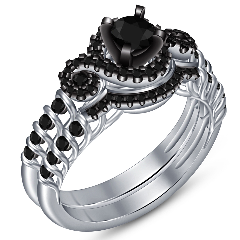 14k White Gold Plated 925 Silver Round Cut Black Diamond Bridal Wedding Ring Set
