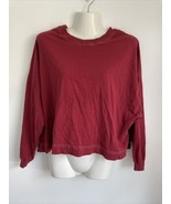 Urban Outfitters Womens XS Red Cropped Oversized Shirt Tee Top Long Sleeve  - $9.89
