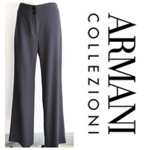 Women's Armani Collezioni Taupe Wool Crepe Dress Pant Trouser Sz 4 - $44.54