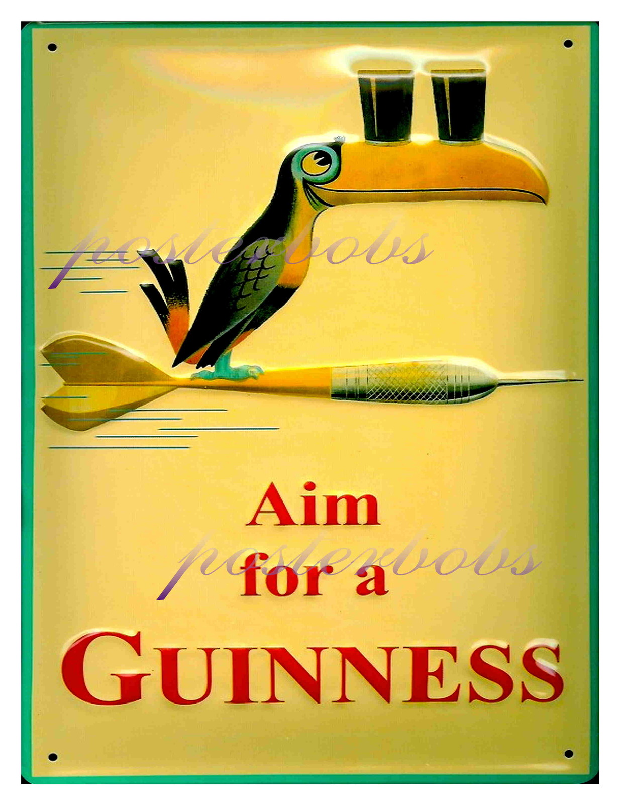 """Aim For a Guiness"" 22 x 17 inch Vintage Advertising Poster Giclee CANVAS Print"