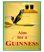 """Aim For a Guiness"" 22 x 17 inch Vintage Advert... - $59.00"