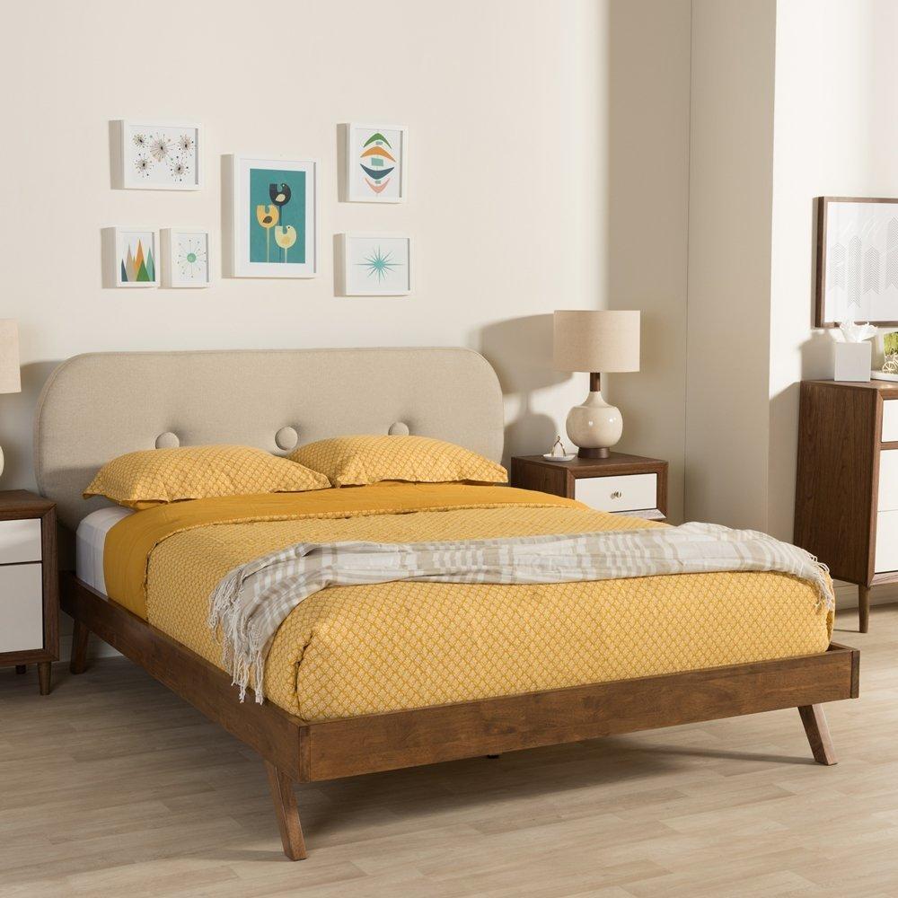 Baxton Studio Penelope Mid-Century Modern Solid Walnut Wood Grey Fabric Upholste