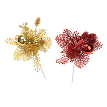 Darice Glitter Christmas Berry Pick: 8 inches, 2 Assorted Styles Red Gold w - $5.99
