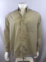 VAN HEUSEN Mens Dress Shirt Long Sleeve Button Down 15-15 1/2 Tan Plaid  - $24.50