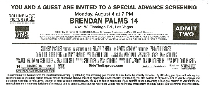 Pineapple Express Special Advance Screening Ticket