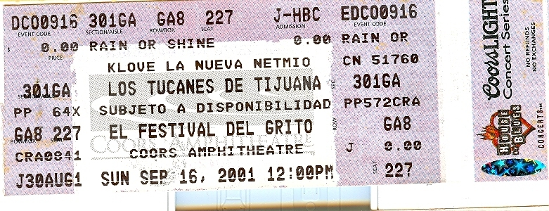 2001 Tucanes de Tijuana Ticket