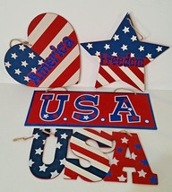 4 - 4th Of July Glittered Plaques -USA, America & Freedom - Memorial & L... - $25.23