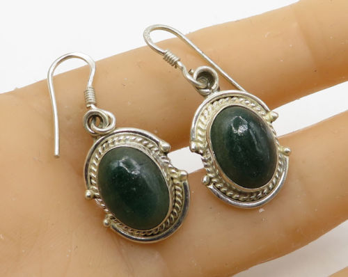 Primary image for 925 Sterling Silver - Vintage Cabochon Cut Gemstone Dangle Drop Earrings - E2037
