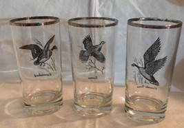 3 Federal Glass Sportsman Pattern Canada Goose Grouse Canvasback Glass Tumbler - $21.77