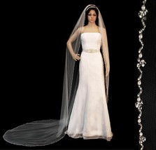 Crystal Pearl Beaded Edge Cathedral Bridal Wedding Veil White Ivory or C... - $112.45