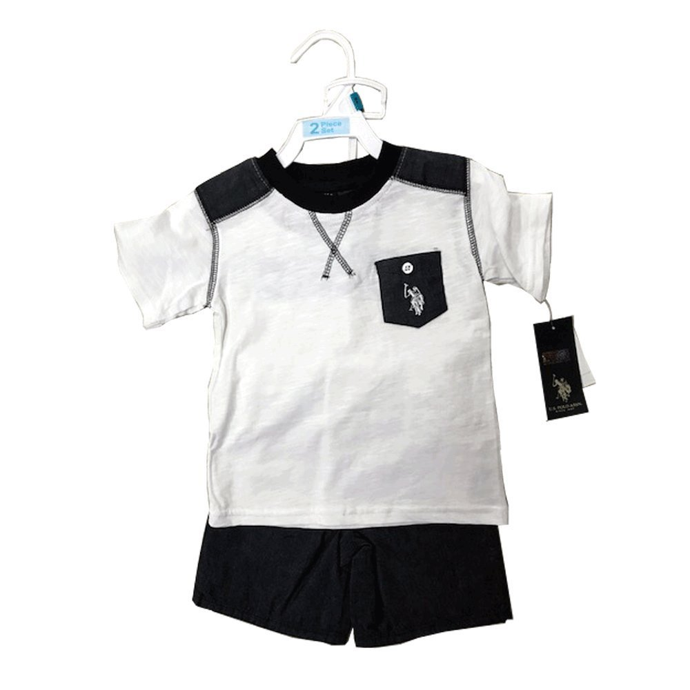 US POLO 2 PIECES BABY SET 12-24 MONTHS (12 MONTHS, WHITE/NAVY)