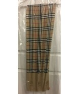 "Authentic Burberry Silk Scarf Nova Check Lamp Post Logo 11"" x 72"" Dry Cleaned - $161.99"