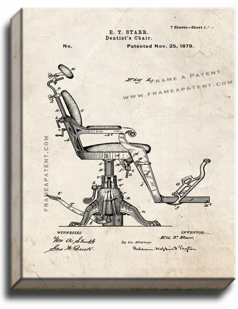 Primary image for Dentist's Chair Patent Print Old Look on Canvas