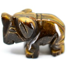 Tiger's Eye Gemstone Tiny Miniature Elephant Figurine Hand Carved in China image 2