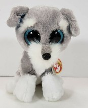 """Ty Beanie Boos WHISKERS the Schnauzer 6"""" Gray Dog Stuffed Plush Toy - $13.99"""