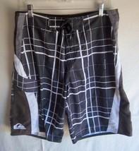 Quiksilver - Men's Black/Brown/White Checked Board Shorts - Size 32 - $21.99