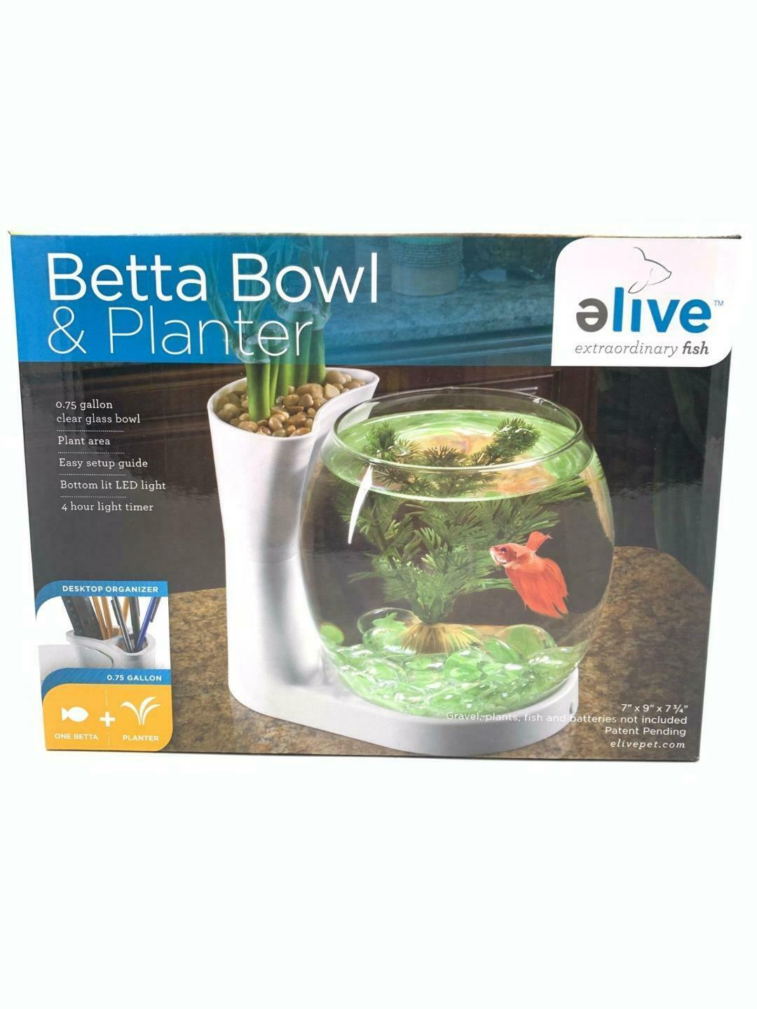 Primary image for Elive Betta Fish Bowl & Planter Set Up Tank Kit White .75 Gallon LED Light Timer