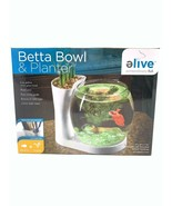 Elive Betta Fish Bowl & Planter Set Up Tank Kit White .75 Gallon LED Lig... - $17.99