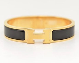 Authentic Hermes 2015 Black Enamel Gold H Clic-Clac Bracelet PM