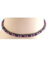 Vintage 1928 Rhinestone Slide Charm Necklace Brilliant Purple Rose Laven... - $14.99