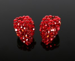 Vintage Faux Ruby Red Stone Gold Toned Teardrop Clip On Costume Jewelry ... - $13.49