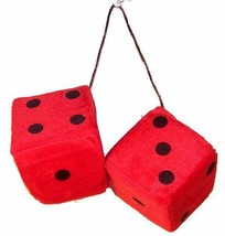 LARGE pair RED FUZZY PLUSH 3 INCH DICE rearview die solf hanging NEW car... - $6.31
