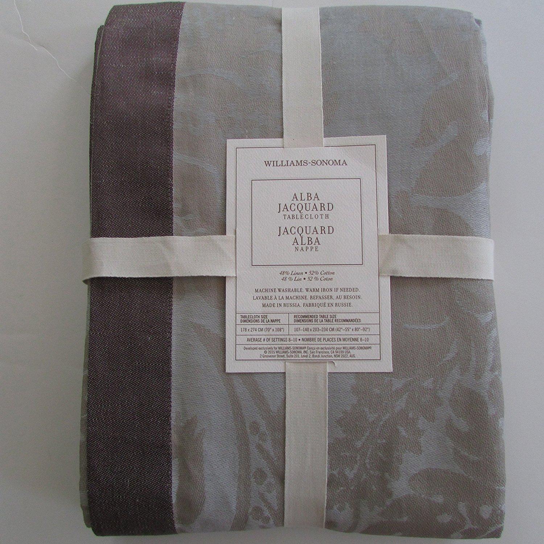 "Williams-Sonoma ALBA JACQUARD Tablecloth ~70"" x 108""~*Neutral*~ - $119.50"
