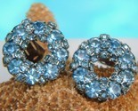 Vintage warner ice blue rhinestone clip earrings thumb155 crop