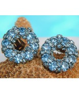 Vintage Warner Clip Earrings Blue Rhinestones C... - $24.95
