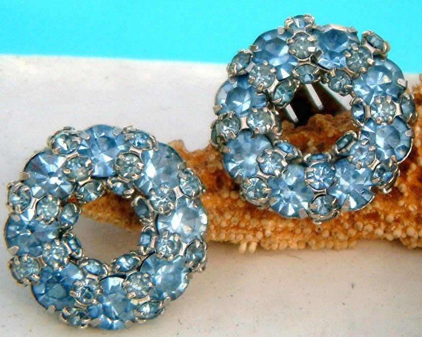 Vintage Joseph Warner Clip On Earrings Blue Rhinestones Circle Wreath