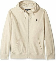 U.S. Polo Assn. Men's Slim Fit Solid French Terry Hooded Jacket, Oatmeal L - $39.59