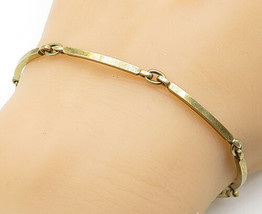 NE FROM DENMARK 925 Silver - Vintage Gold Plated Curved Chain Bracelet -... - $42.92