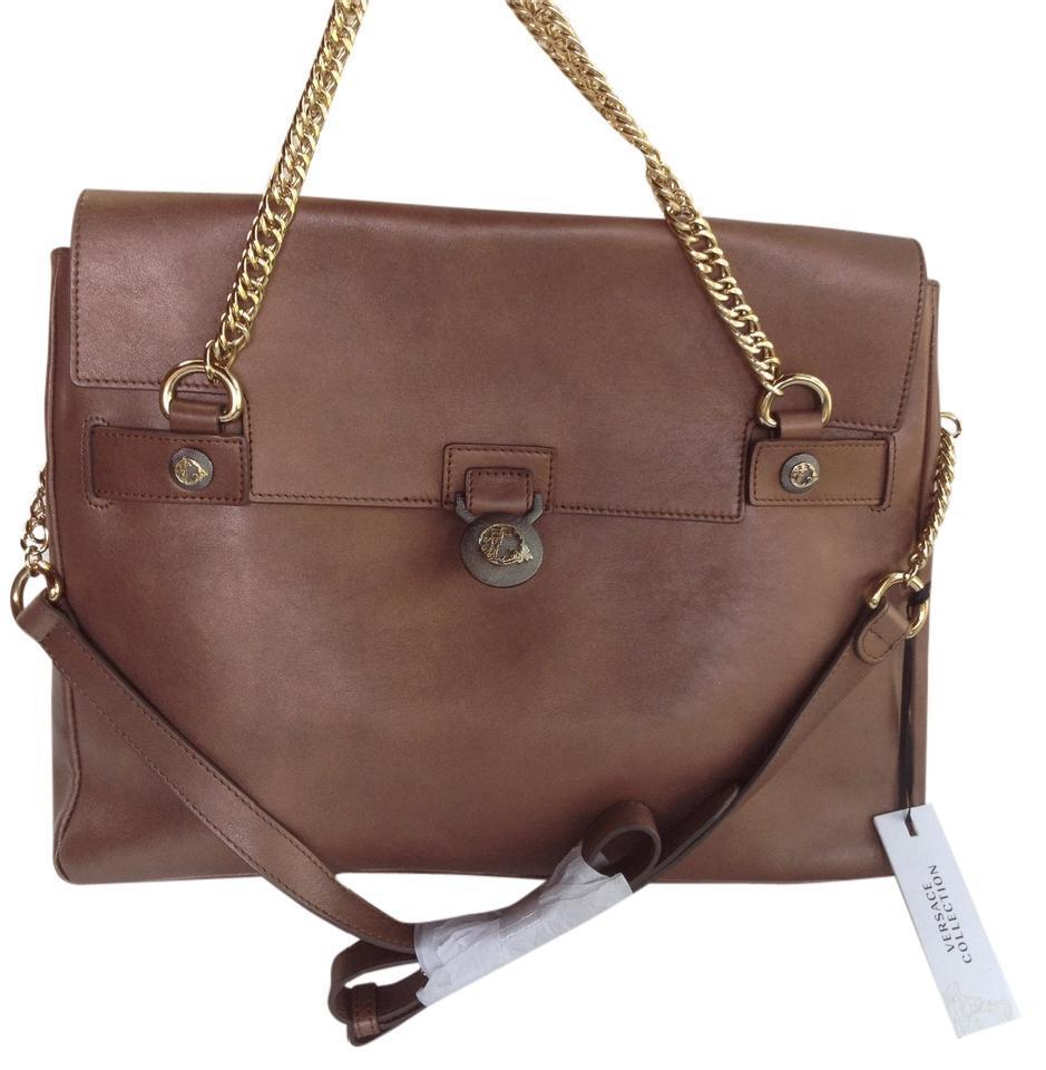 930c547d0d00 S l1600. S l1600. Previous. Auth Versace Collection Handbag Vitello Perlato  Leather Brown Messenger Bag NWT