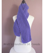 Hand Knit 58 Inch Blue-Purple Ribbed Scarf Made In Canada - $23.00