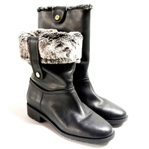 Cole Haan Breene Waterproof Black Leather Fold Down Shearling Boots Wome... - $99.99