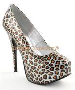 BORDELLO Silver Leopard Print High Heels Platform Pumps - $72.95