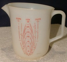 Vintage TUPPERWARE 2 Cup/16oz Measuring Cup #134 Small Pitcher Sheer Red... - $14.84