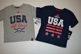 ADIDAS BOYS AND TODDLER T-SHIRTS  BLUE AND GRAY USA SIZES 2T,,4,5,6,7,7X... - $11.19