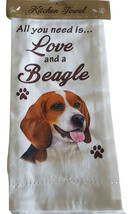Kitchen Dish Towel Beagle Dog Theme All You Need Is Love & A BEAGLE Cott... - $11.49